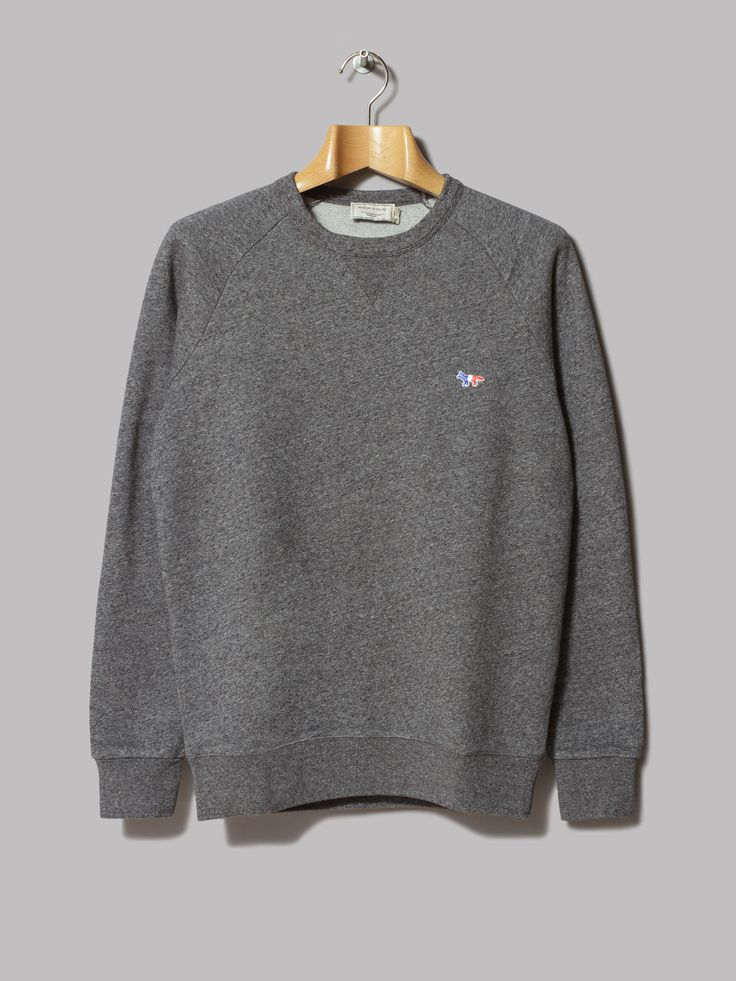 Maison Kitsuné Tricolour Patch Sweatshirt (Black Melange)