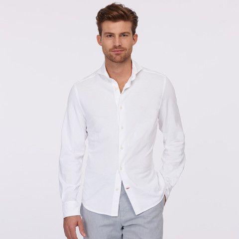 CREMIUEX Pique Spread Collar Shirt – White #vermontfashion