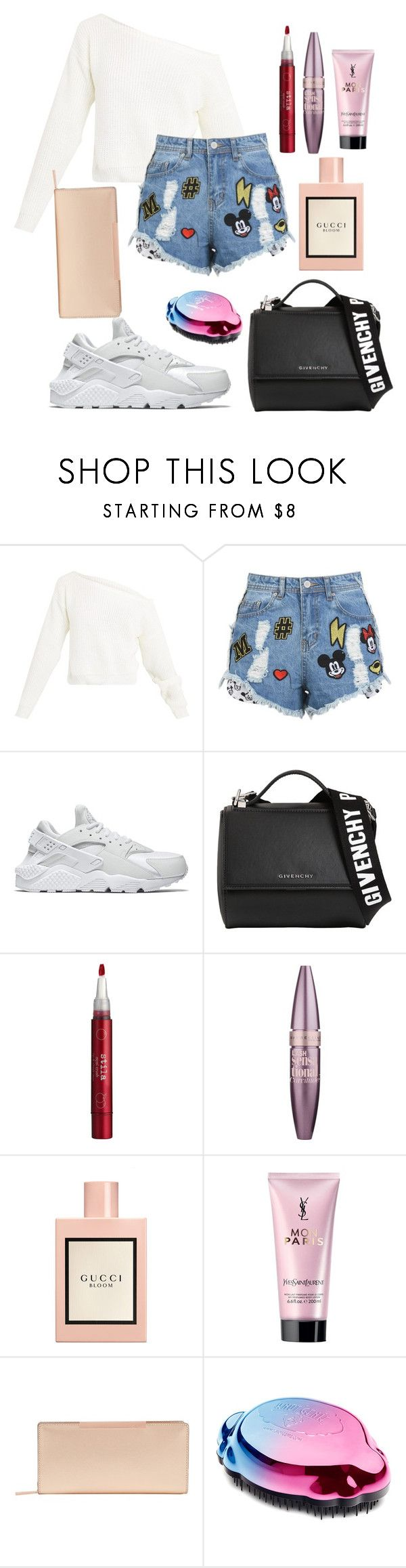 """Untitled #108"" by rahmadita14 on Polyvore featuring Disney Stars Studios, NIKE, Givenchy, Stila, Maybelline, Gucci, Yves Saint Laurent and Ted Baker"