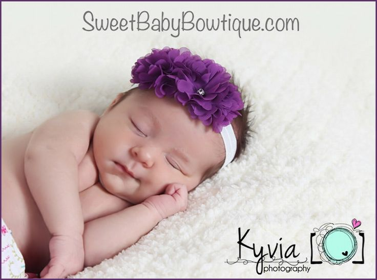 OMG the MOST ADORABLE baby headbands and newborn headbands! www.sweetbabybowtique.com!  The Isabella Flower Purple Elastic Headband