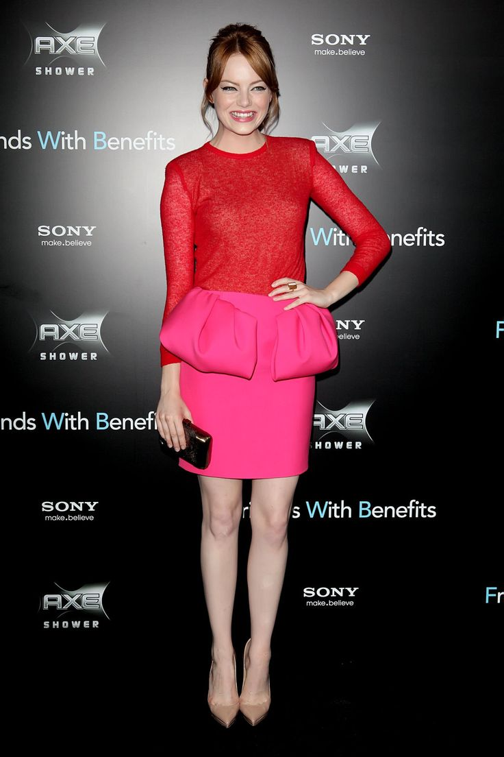 Emma Stone in Red and Pink Combo.: Red Pink, Fashion, Red And Pink, Style Red, Red Carpet, Stones