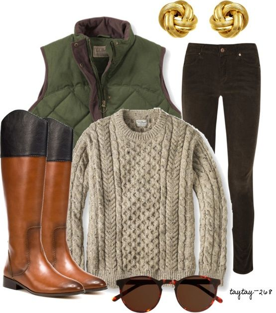 Southern Charm Blog... Weekend style with this Fall's MUST HAVE'S: Riding boots, dark skinny denim, Hunter Green puffer vest, Classic sunglasses and gold accessories.