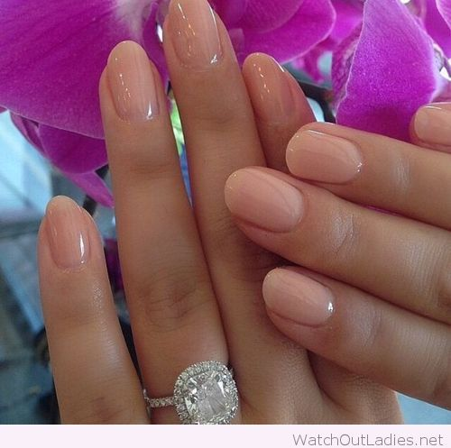Nude pink on rounded nails