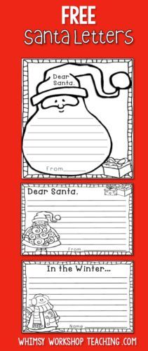 FREE set of differentiated Christmas writing includes letters to write to Santa and also winter themed writing templates