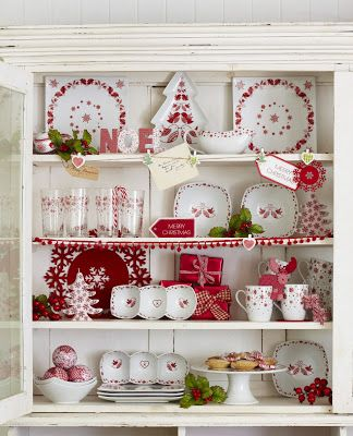 Red and white Christmas cabinet