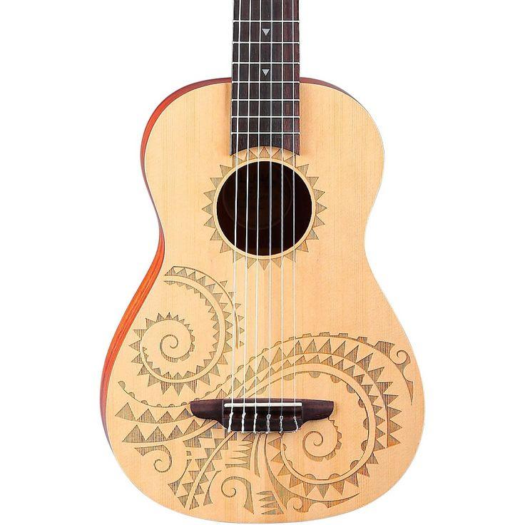 Luna Guitars 6-String Baritone Ukulele Tattoo
