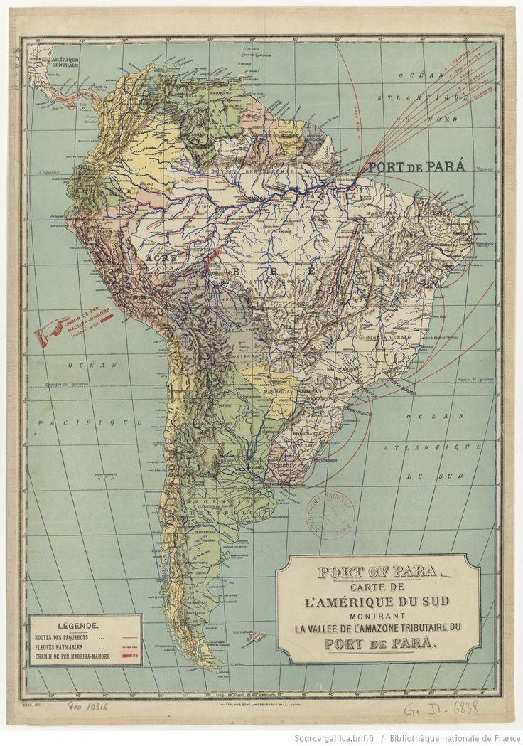 Port of Parú. Carte de l'Amérique du Sud montrant la vallée de l'Amazone tributaire du port de Parú