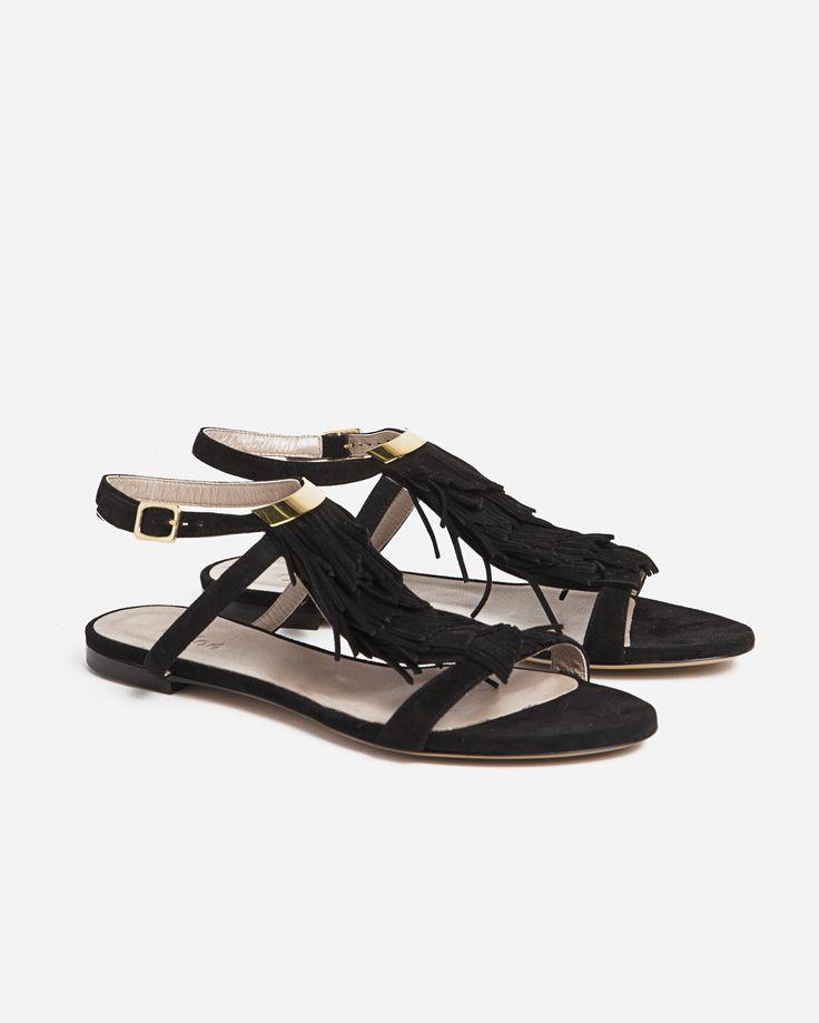 Chloé Flat Suede Sandal w Tassel Detail