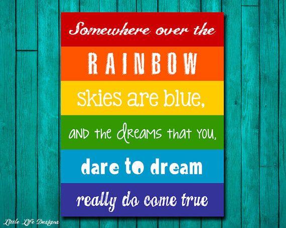 Rainbow Wall Art. Childrens Decor. Somewhere over the Rainbow. Party Decor. via Etsy