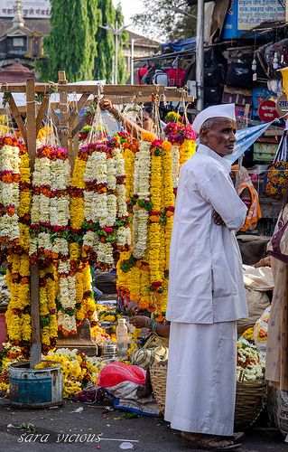 Seller of Flower Garlands, Pune, India