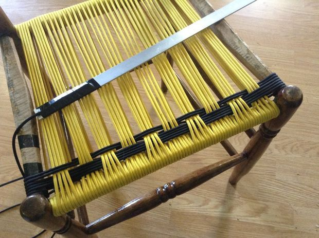 weaving a chair seat out of paracord