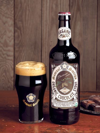 Samuel Smith Organic Chocolate Stout (Samuel Smith Old Brewery); Full body; roasted barley flavor; fruity notes from the Samuel Smith yeast strain support lush chocolate aroma, taste & finish: The perfect balance of full-bodied beer and chocolate. Every bit as marvelous as it sounds.