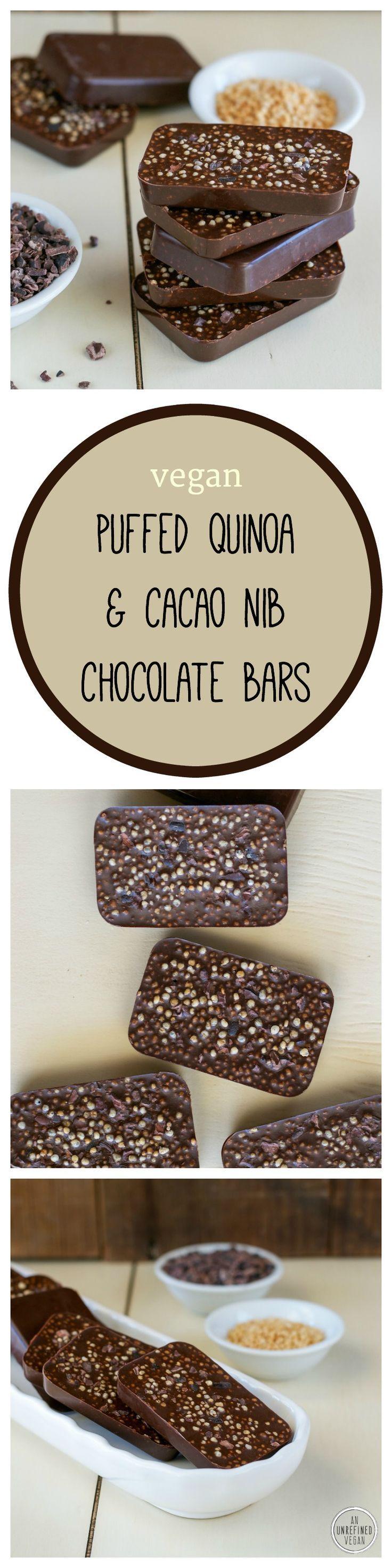 Vegan, gluten-free Puffed Quinoa & Cacao Nib Chocolate Bars by An Unrefined Vegan.