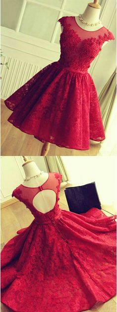 Gorgeous A-Line Scoop Knee-Length Red Lace Homecoming Dress with Appliques @veenrol red homecoming dresses, lace homecoming dresses, appliques homecoming dresses
