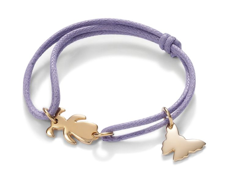 Gold-plated butterfly and little girl on a lilac string http://lilouparis.com/en/ready_made_sets#354  #lilou #bracelet #butterfly #littlegirl #girl #platedgold #string #lilac