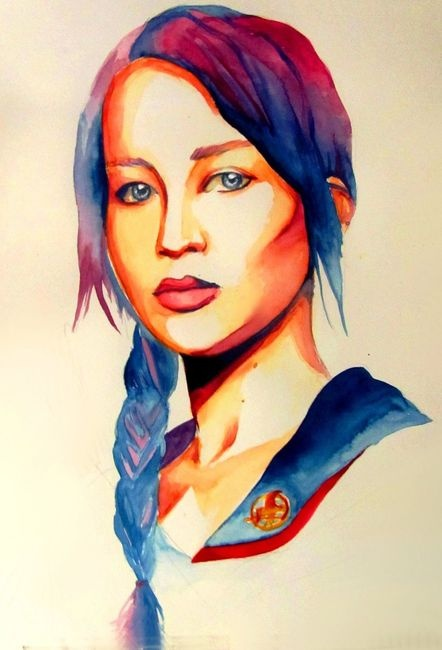 oh my gosh!! this is aawesome for hunger games lovers!! Katniss watercolor