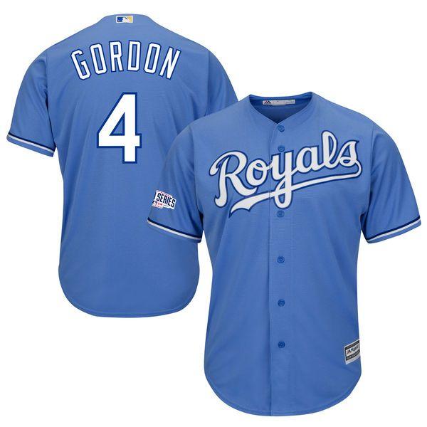 Alex Gordon Kansas City Royals Majestic Cool Base Player Jersey with 2014 World Series Patch - Light Blue - $124.99