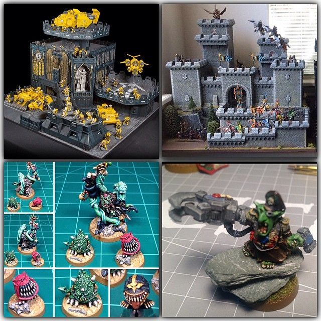 """This is for @gmmstudios and #minimontage - his account is one of the bests for miniatures on Instagram!  top left my #imperialfists from 2013 Gamesday, later published in the white dwarf, and also in the 40k rulebook set.  Top right is my army on parade entry for this year: #bretonnians.  Bottom left is the now """"retired"""" from codex Orks, old Zogwart."""