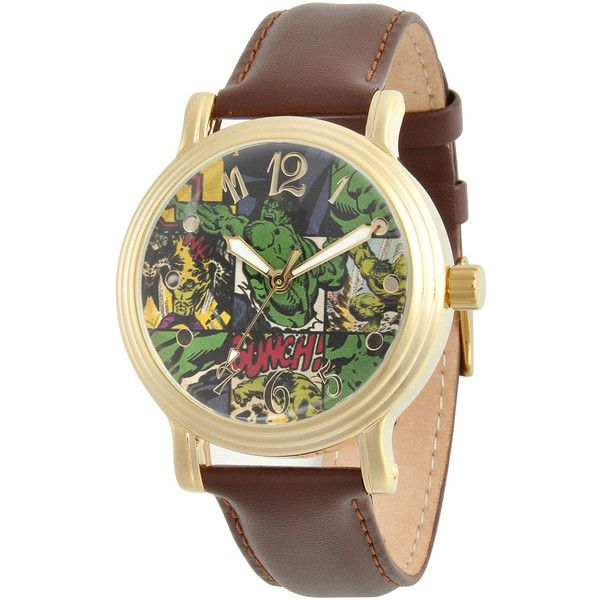 Marvel Womens Brown Leather Strap Hulk Watch ($40) ❤ liked on Polyvore featuring jewelry, watches, leather wrist watch, brown watches, brown leather watches, leather watches e vintage style jewelry