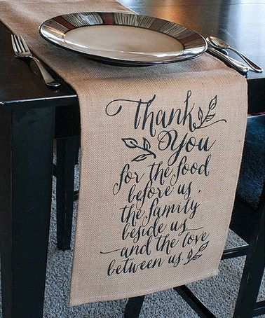 Love this 'Thank You For the Food' Jute Table Runner on #zulily! #zulilyfinds