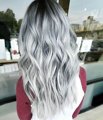 Details about Brazilian 100% Real Human Hair Wigs Ombre Silver Gray Lace Front Full Lace Wigs