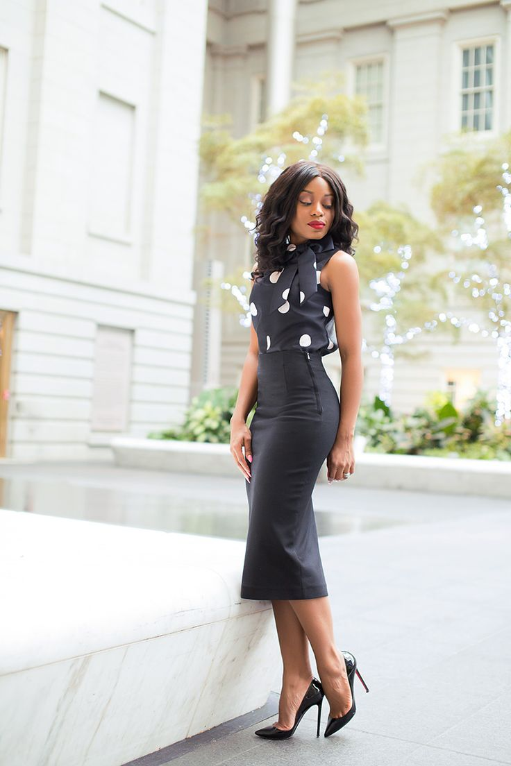 9 to 5 work chic! Kate Spade Polka dot bow top + Zara Pencil skirt with rear slit + Christian Louboutin Patent-leather pumps | jadore-fashion.com