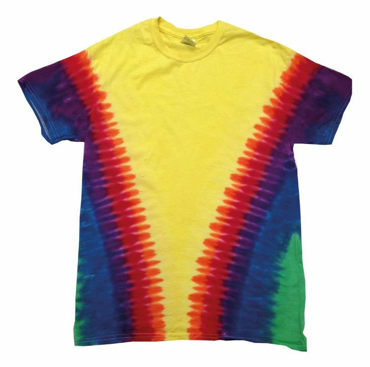Rainbow V tie-dye shirt Double-needle stitched neckline and sleeves Shoulder-to-shoulder taping Hand-dyed with superior colourfastness Quarter turned