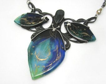 Green & Blue Art Nouveau Necklaces with Fused Glass and Kyanite Stone