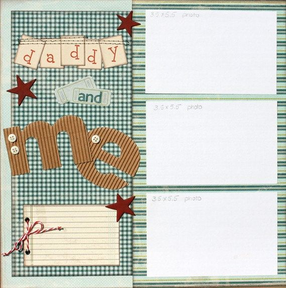 Premade Scrapbook Page 12 x 12 Boy Layout change color and make it for ether a boy or girl - Daddy and Me.