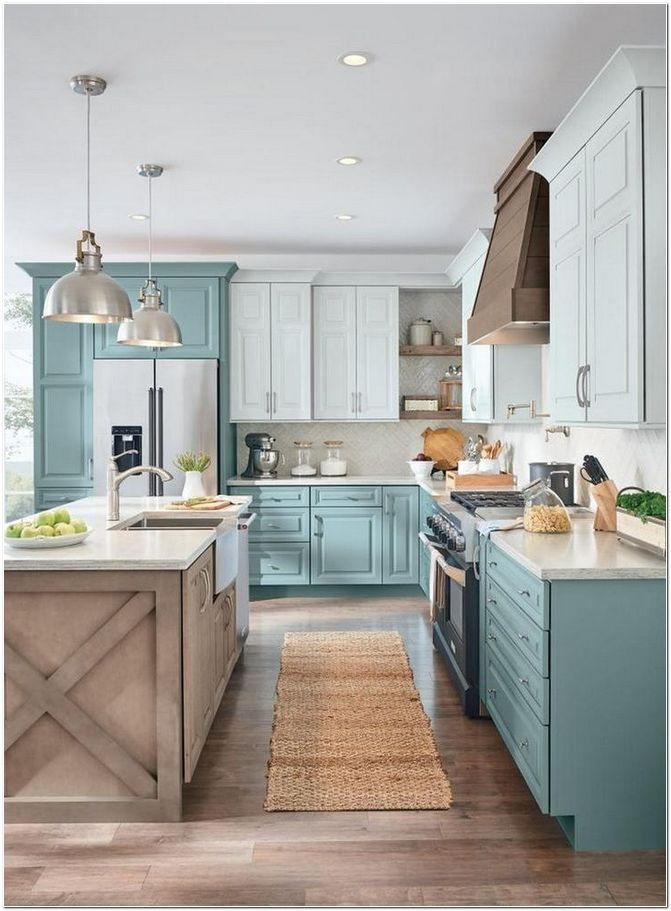 45 Choose Best Color For Small Kitchen Remodel Homeexalt In 2020 Kitchen Remodel Small Kitchen Design Small Farmhouse Kitchen Design