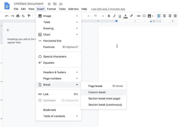 How to create multiple columns in google docs create
