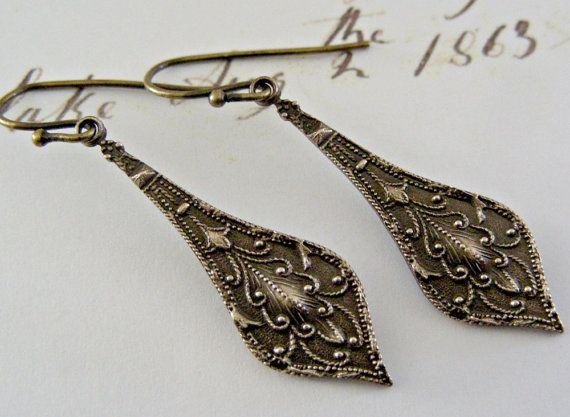Earrings Vintage Victorian  Brass by chloesvintagejewelry on Etsy, $16.80Chloe Vintage, Etsy, Vintage Wardrobe, 17 00, Earrings Vintage, Victorian Brass, Vintage Victorian