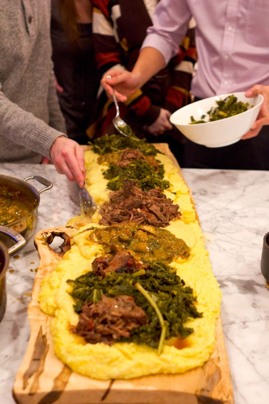 An Italian Polenta Supper Dinner Party... 4 feet of polenta for an amazing presentation! Plus a favorite tip for keeping polenta warm and creamy for hours!