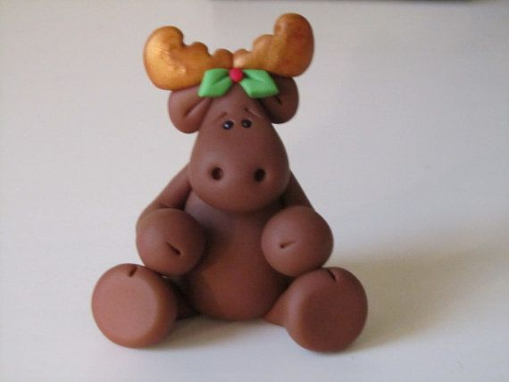sculpey clay figures | Polymer Clay Christmas Moose Figure by ClayPeeps on Etsy