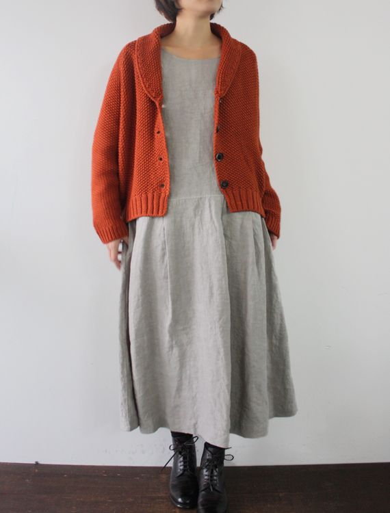 plain grey dress + shawl collar cardigan,  Envelope - Acile Lisette