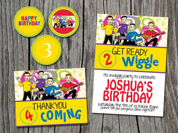 Birthday Party Set WIGGLES  Invitation Thank by EmbellisheDesigns, $18.00