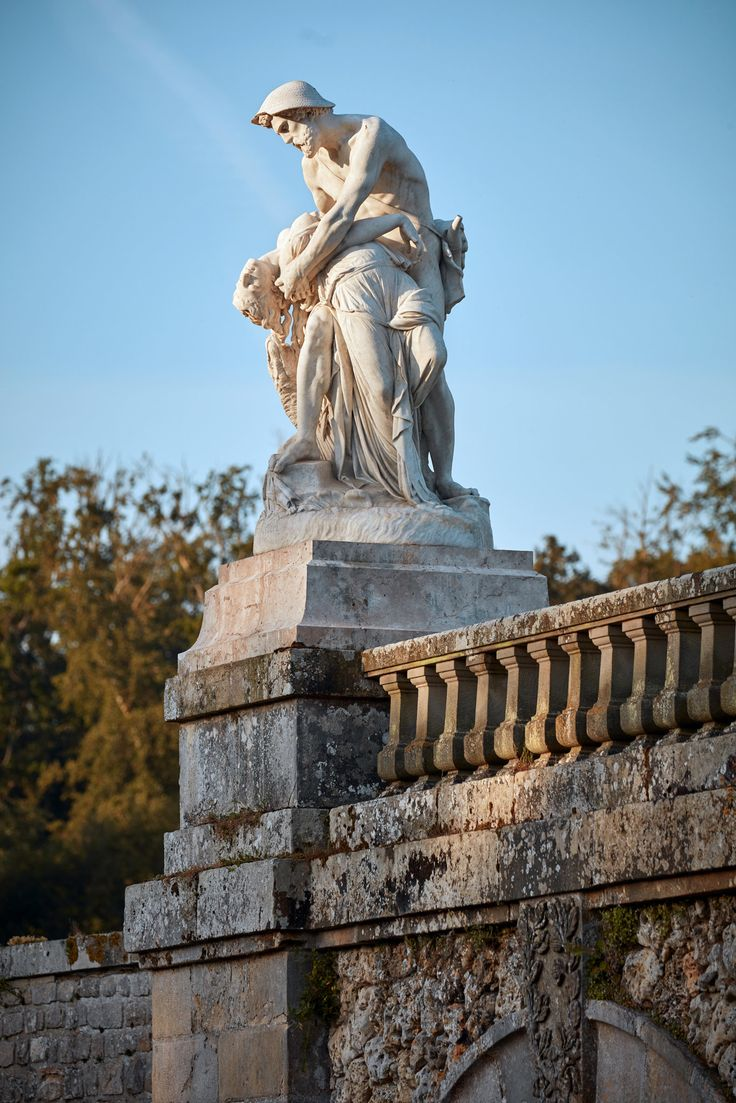 A statue overlooking the Grand Canal. Fontainebleau