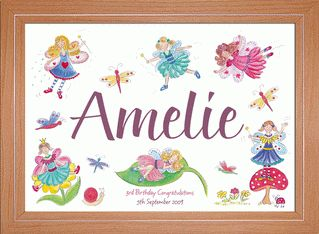 Fairy Childrens Name Picture   This delightful fairy picture is a perfect finishing touch to a little girl's room. Children love to see their own name in print and this will help them begin to recognise it. You can personalise this picture with your child's name and two unique messages.  FROM ONLY £16.50  This fairy picture is printed from a watercolour original onto A4, 190gsm, fine-art paper.  Available as a print only or ready framed in a choice of four finishes with shatterproof styrene.