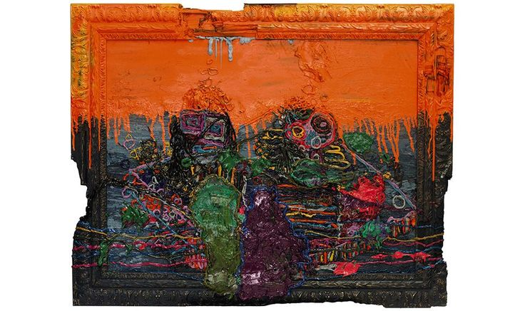 Orange Frequency Orange, 2015, oil on canvas by Jigger Cruz (© Jigger Cruz (b. 1984)) - See more at: http://sea.blouinartinfo.com/news/story/1268486/southeast-asian-abstraction-shines-bright-at-sothebys-gallery#sthash.jQe2EqXb.z9WG9fpd.dpuf