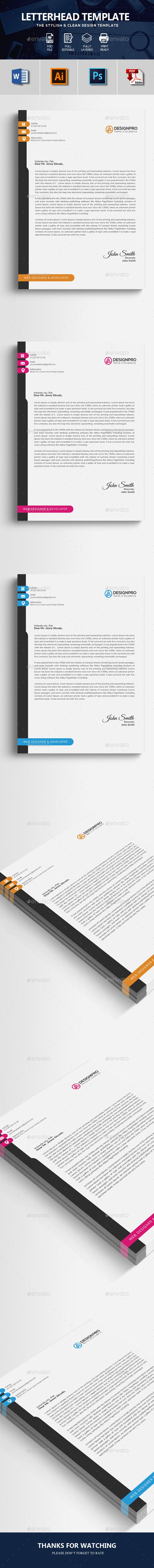 Letterhead  Letterhead Specification      CMYK Color Mode     300 DPI Resolution     Size 210×297 3 mm bleed  Features      Easily customization     Editable Text Layers     Smart Object Layer to Put Images     Well Organized Layer     Free Fonts are Used     Professional and clean files