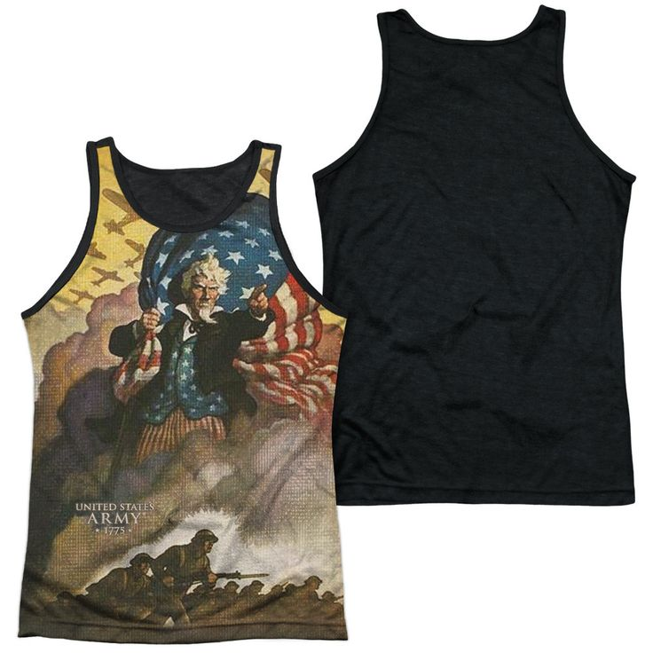 ARMY/VINTAGE POSTER-ADULT POLY TANK TOP BLACK BACK-WHITE-SM