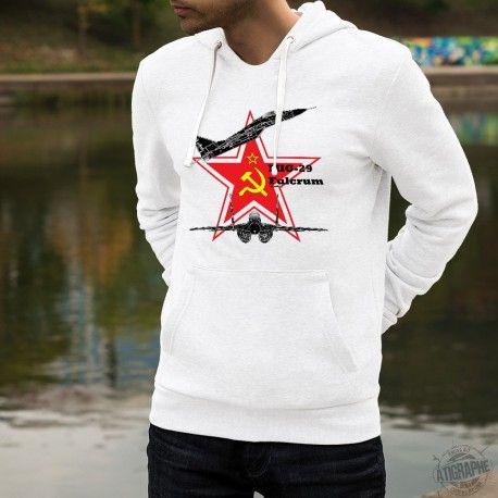 Sweat blanc à capuche homme illustré de la silhouette de l'avion de combat - Mikoyan-Gourevitch MiG-29 Fulcrum, célèbre vestige de la guerre froide, ainsi que de l'ètoile rouge, du marteau et de la faucille, symboles de l'URSS