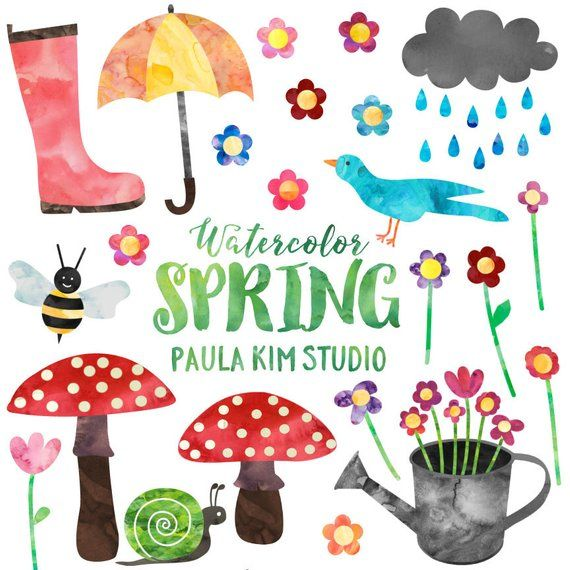 Spring Clipart Watercolor Springtime Clip Art Set Commercial Use