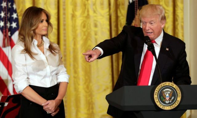 """<span class=""""element-image__caption"""">Donald Trump with his wife Melania on Friday. Trump has refused to release his tax returns, breaking with decades of tradition.</span> <span class=""""element-image__credit"""">Photograph: Yuri Gripas/Reuters</span>"""