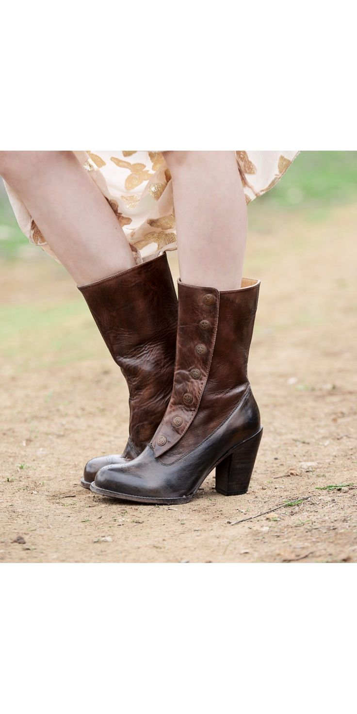 These Amelia Steampunk Style Mid-Calf Leather Boots in Black Teak by Oak Tree Farms will be the perfect accent to a flowing, dreamy outfit