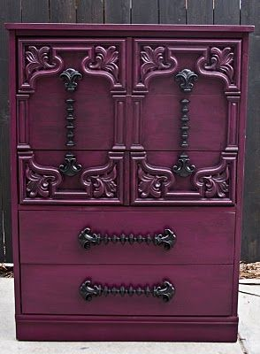 Purple painted dresser.