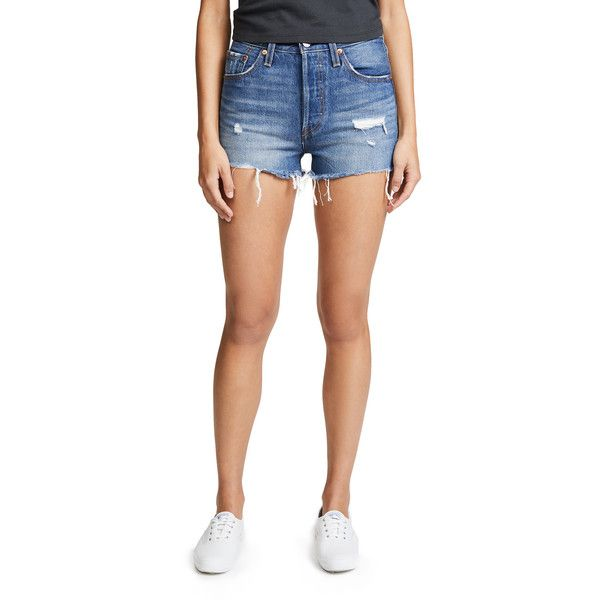Levi's 501 High Rise Shorts ($69) ❤ liked on Polyvore featuring shorts, drive me crazy, high-rise shorts, cutoff shorts, high rise shorts, short shorts and high waisted destroyed shorts
