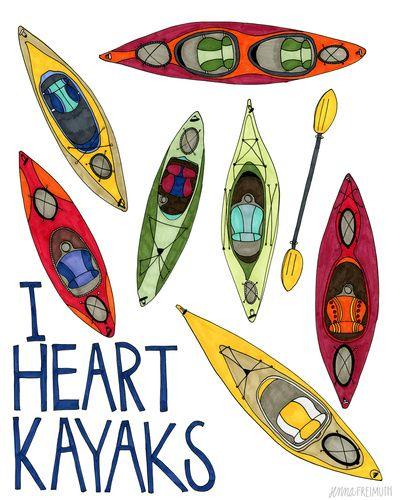 I Heart Kayaks  Art Print by Minnesota's Jenna Freimuth.