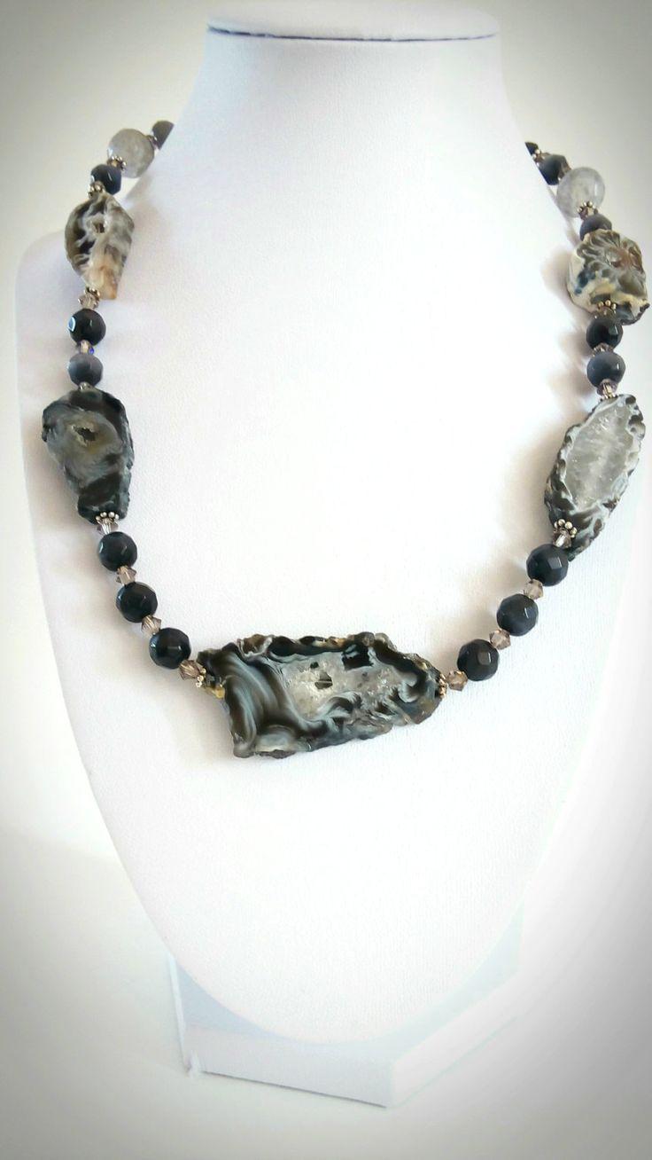 NECKLACE.  AGATE STONE -  Druzy Geode Agate Freeform Slice. Cat Eye Gemstone beads. Swarovski Crystal Elements by GECHELINE on Etsy
