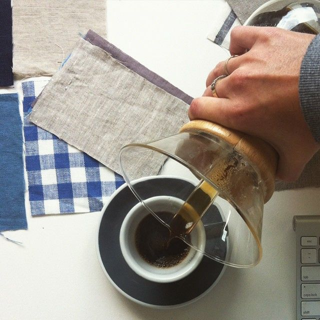Layin' the groundwork for new picnic blankets - so you can get layin' on them soon! Acme & Co. cup and Saucer and Chemex.